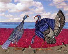 """Wild Turkeys at the Cranberry Bog""  8X10 inch print by Sarah Knight #SunshineSight on #ArtFire"