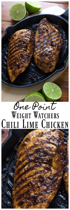 This amazing Chili Lime Chicken has just ONE Weight Watchers Point per serving! Tastes amazing on top of a fresh salad or alone! #weightWatchers #weightwatchersrecipes #chicken #chili