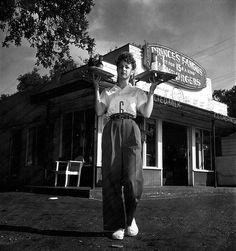 Fantastic photo from 1945,  shows carhop Betty Whittington serving customers at Price's Drive-In, Houston, Tx.