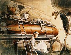 Slumber Deep by Thomas Hart Benton, watercolor on paper, 1944 Submarine Museum, Chrysler Museum, Social Realism, Art Diary, National Art, Realism Art, Art For Art Sake, Art Institute Of Chicago, Military Art