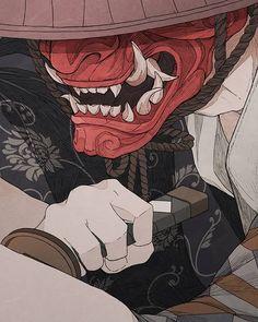 """Samurais Art Gallery's Instagram post: """"By @abirdeer . . . . . #samurai #bushido #anime #kanji #oni #onimask #katana #shinobi #samuraiart #mask #masks #demon #souleater"""" Oni Samurai, Samurai Anime, Samurai Tattoo, Japanese Artwork, Japanese Tattoo Art, Tatoo Tiger, Oni Art, Character Art, Character Design"""
