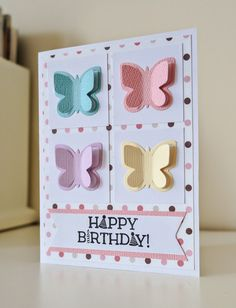 KimH - Recreating Happiness: Birthday Butterflies Card for Little Girls