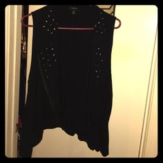 Torrid size 1 studded collar vest Black vest with awesome studded lapels. Shark bite style hem and a zipper to aid in versatility! torrid Jackets & Coats Vests