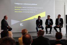 Olli Muurainen (Management Events), Mikael Hed (Rovio) ja William Wolfram (DealDash) keskustelivat 6.5.2014 siitä mitä #rohkeus ja #uskallus yrittäjälle merkitsevät ja mikä tekee yrityksestä menestyvän. #EY #EOY
