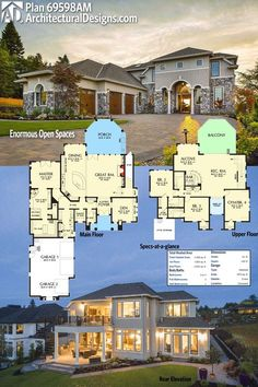 """Architectural Designs House Plan 69598AM gives you over 4,000 square feet of heated living space and beautiful space inside and out! Ready when you are. Where do YOU want to build? And """"yes!"""": more photos online!"""