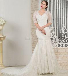 Robe de mariée naturel dans l'eglise boutonné v encolure de traîne mi-longue
