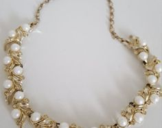 Signed Sarah Coventry Vintage Necklace - Sarah Coventry Royal Ballet Necklace - Vintage Pearl and Rhinestone Bib Necklace - Costume Jewelry - Edit Listing - Etsy