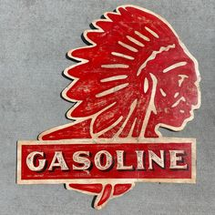 Gasoline Indian Chief custom hand painted sign by on Etsy