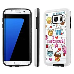 "Buy Samsung Galaxy [S7] [5.1"" Screen] Phone Case [NakedShield] [White/Black] Dual Armor Protective - [Doodles Cupcakes] for Samsung Galaxy S7 / GS7 NEW for 11.95 USD 