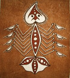 A bark painting from Papua. Fish represent the original sources of life for people of Asei Besar in Lake Sentani, Jayapura.