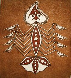 A bark painting from Papua. Fish represent the original sources of life for people of Asei Besar in Lake Sentani, Jayapura.