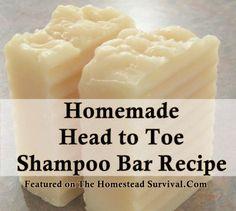 The Homestead Survival | Homemade Head to Toe Shampoo Bar Recipe | Homemade Soap Recipe -