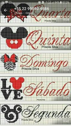 Semaninha Mickey Cross Stitch For Kids, Cross Stitch Boards, Cross Stitch Bookmarks, Cross Stitch Baby, Cross Stitch Alphabet, Embroidery Alphabet, Embroidery Stitches, Embroidery Patterns, Cross Stitch Patterns