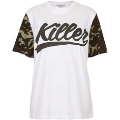 **Killer Camo Sleeve Oversized by Illustrated People (21 AUD) ❤ liked on Polyvore featuring tops, t-shirts, shirts, blusas, white, camo shirt, cotton t shirts, white tee, white cotton t shirts and pattern t shirt