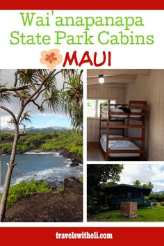 Wai'anapanapa State Park Cabins - Maui, Hawaii - Did you know that there is an affordable place to stay in Hana? Wai'anapanapa state park cabins are the perfect accommodations right in the state park in Hana, Hawaii. Maui Travel, Travel Usa, Travel Destinations, Hawaii Vacation Tips, Beach Vacations, Packing Tips For Travel, Travel Ideas, State Park Cabins, Family Adventure