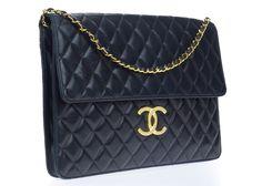 Chanel Vintage Black Lambskin Leather Portfolio Tote Bag   Designer Vault