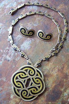 Margot de Taxco    Sterling enamel necklace and earrings