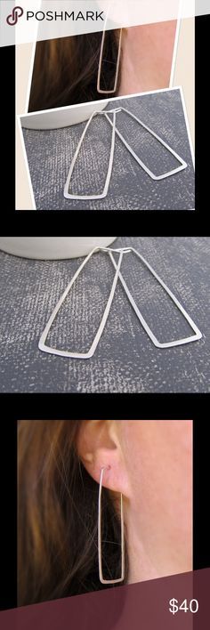 """2"""" Fine Silver Rectangular Hoops🍥✨ A set of fine .999 sterling silver rectangle Hoop earrings. 2 inches in length, not today heavy on the ears. ⭐️note⭐️ 999 silver is 99.9% pure silver vs 925 silver which is just 92.5% silver. Fine Sterling Silver is considered to be 100% hypoallergenic/For sensitive ears. nejd Jewelry Earrings"""
