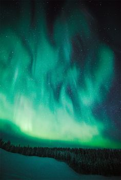 """Teal Feathers:  """"A turquoise fire seems to burn in the sky in this photograph, taken in Kiruna, Sweden."""""""