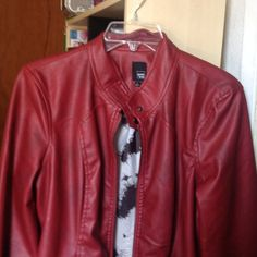 I just wear once Red faux leather pim kie Jackets & Coats