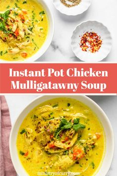 A low-carb recipe for the restaurant favorite Chicken Mulligatawny Soup! This South Indian soup is cooked in an Instant Pot with creamy coconut milk and warming spices that leaves the taste buds longing for more. #ministryofcurry #keto #lowcarb Quick Soup Recipes, Instant Pot Dinner Recipes, Delicious Dinner Recipes, Curry Recipes, Easy Chicken Recipes, Appetizer Recipes, Healthy Recipes, Vegetarian Soup, Healthy Soup