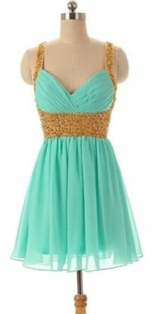 Turquoise Blue Prom Dress, Chiffon Prom Dress