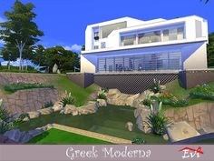 A modern Greek house built on a cliff. Second floor , three bedrooms, bathroom and reading area. Third floor, kitchen dining room and a sitting area Found in TSR Category 'Sims 4 Residential Lots' Three Floor, Second Floor, Stucco Walls, Greek House, Sims Community, House Built, Electronic Art, City Living, Sitting Area