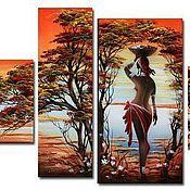 Картины и панно ручной работы. Ярмарка Мастеров - ручная работа Африканский пейзаж с девушкой. Handmade.