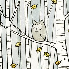 Sketched birch with owl http://photo.craftgawker.com/wp-content/uploads/craft/2011/11/110386.jpeg