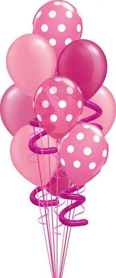 A couple of dots and swirly balloons jazz up an ordinary balloon bouquet! Happy Birthday Images, Happy Birthday Wishes, Birthday Greetings, Birthday Clipart, Birthday Cards, Pink Love, Pretty In Pink, Wonderful Day, Pink Balloons
