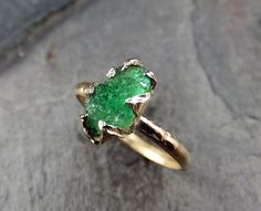 Raw Emerald Ring in 14K yellow gold green uncut rough gemstone recycled gold stacking size 6 3/4 statement byAngeline