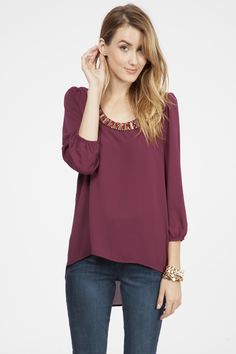 Jeweled Blouse - Burgundy 100% Polyester Made in USA $36