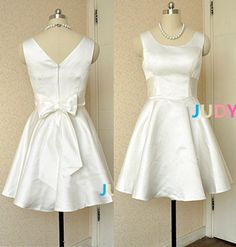o neck double shoulders white satin bright short by JUDYMADE1, $98.00