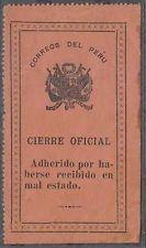 """Peru 1915 Sellos Oficiales Sc Unlisted Drummond os10a acento sobre """"R"""" en lugar de """"U"""""""