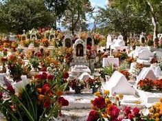 Clean the graves  decorate the graves with Mexican marigolds called cempasúchil, Graves are painted