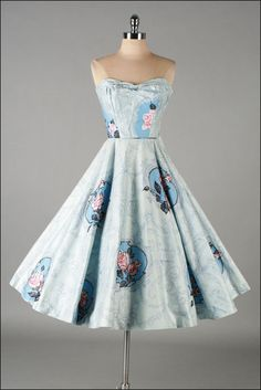 Vintage 1950s Dress  Blue Cotton  Floral by millstreetvintage, $325.00