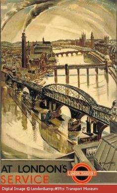 At London's Service - Bridges - In the foreground Waterloo Bridge which was reconstructed during the 2nd WW. A new and current bridge was completed in 1945 and is known as 'Ladies Bridge' because of the wartime workforce that constructed it was made up of mainly women
