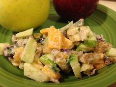 Roasted Chestnut Apple Salad, 10.2 grams protein, 217 calories