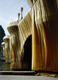Christo - the Pont-Neuf (Paris) wrapped in 1985 -   They were present, Christo & Jeanne-Claude ... she was VERY angry against dogs who di their ... poo ... on the floor white wrapping !!!!! :-D