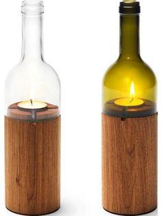 Идеи превращения винных бутылок в стильные и функциональные: Оригинальные подсвечники. Свеча из дерева и винной бутылки