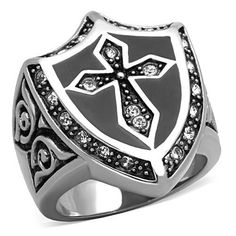 Knight Cross & Shield Ring - Ring in Stainless Steel - Russian Lab Diamonds - Free Shipping USA - Easy Exchanges/Returns - Gift Box