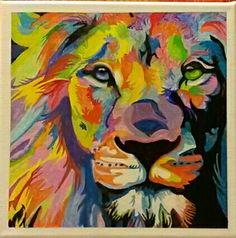 Psychedelic Lion  Acrylic painting on canvas by: Lyle Davis
