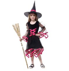 Cool Halloween Cosplay Girls Flying Female Witch Costume Children Stage Clothing for Masquerade Party