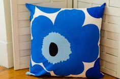 Blue Unikko Pillow Cover | Marimekko Pillow | 20x20 pillow | Modern Design | Poppy pillow | Floral Pillow | Blue Pillow | Handmade Pillow by PantsandPillows