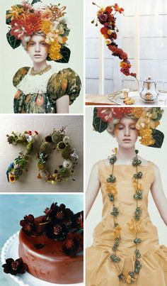 a floral headdress, tea time buds, speaking {literally} with flowers, a sweet floral snack, and a necklace in bloom...all by the amazing japanese stylist musubi via Oh Joy blog