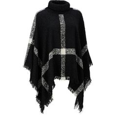 Jessica Simpson Large Plaid Boucle Poncho ($28) ❤ liked on Polyvore featuring outerwear, jessica simpson poncho, turtle neck poncho, turtleneck poncho, plaid poncho and style poncho