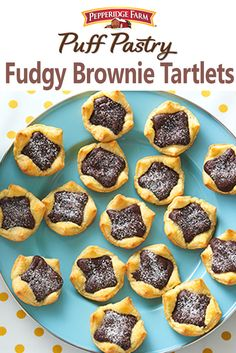 Puff Pastry Fudgy Brownie Tartlets Recipe. These quick-fix mini desserts are just waiting for a scoop of ice cream. A perfect any-time dessert! They're so tasty kids will love them and adults will too. Our recipe  calls for a quick brownie batter, but you can substitute with boxed to make it even easier. Who wouldn't love a fudgy brownie, nestled in flaky Puff Pastry and sprinkled with powdered sugar?