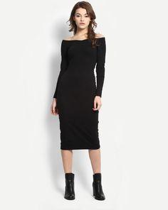 b976e43fd Buy Black Cordelia Off Shoulder Bodycon Dress Online at StalkBuyLove
