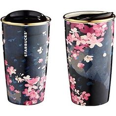 Starbucks 2016 Sakura Travel To-Go Dark Night Mug 12 oz mug / double wall Sold out already in stores Purchased directly in Starbucks, authentic Starbucks Cup, Starbucks Tumbler, Starbucks Tassen, Copo Starbucks, Cute Water Bottles, Cute Cups, Coffee Love, Coffee Mug To Go, Mug Cup