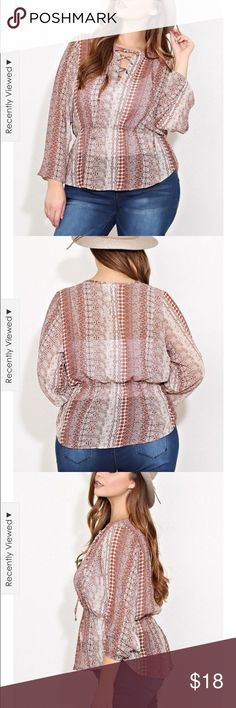 Lace up bohemian style top This darling top laces up at the neck with a draw string waist right below breasts. It's just a all around great top. Pair it with your favorite boots and jeans or dress it up a little with slacks. Tops Blouses